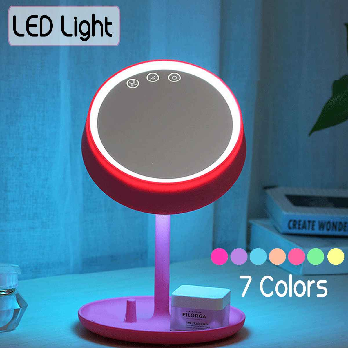 USB LED Lamp Touchs Control <font><b>7</b></font> Color Changing Table Night Light <font><b>4</b></font> In <font><b>1</b></font> Smart Beauty Makeup Mirror Wireless bluetooth Speaker image