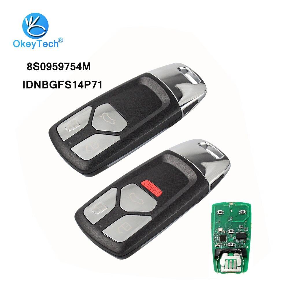 OkeyTech 3/4 Button 315/433mhz Keyless Entry Car Remote Key Smart Card for Audi A4 A5 Q7 TT 2016 2017-Up with Uncut HU66 BladeOkeyTech 3/4 Button 315/433mhz Keyless Entry Car Remote Key Smart Card for Audi A4 A5 Q7 TT 2016 2017-Up with Uncut HU66 Blade