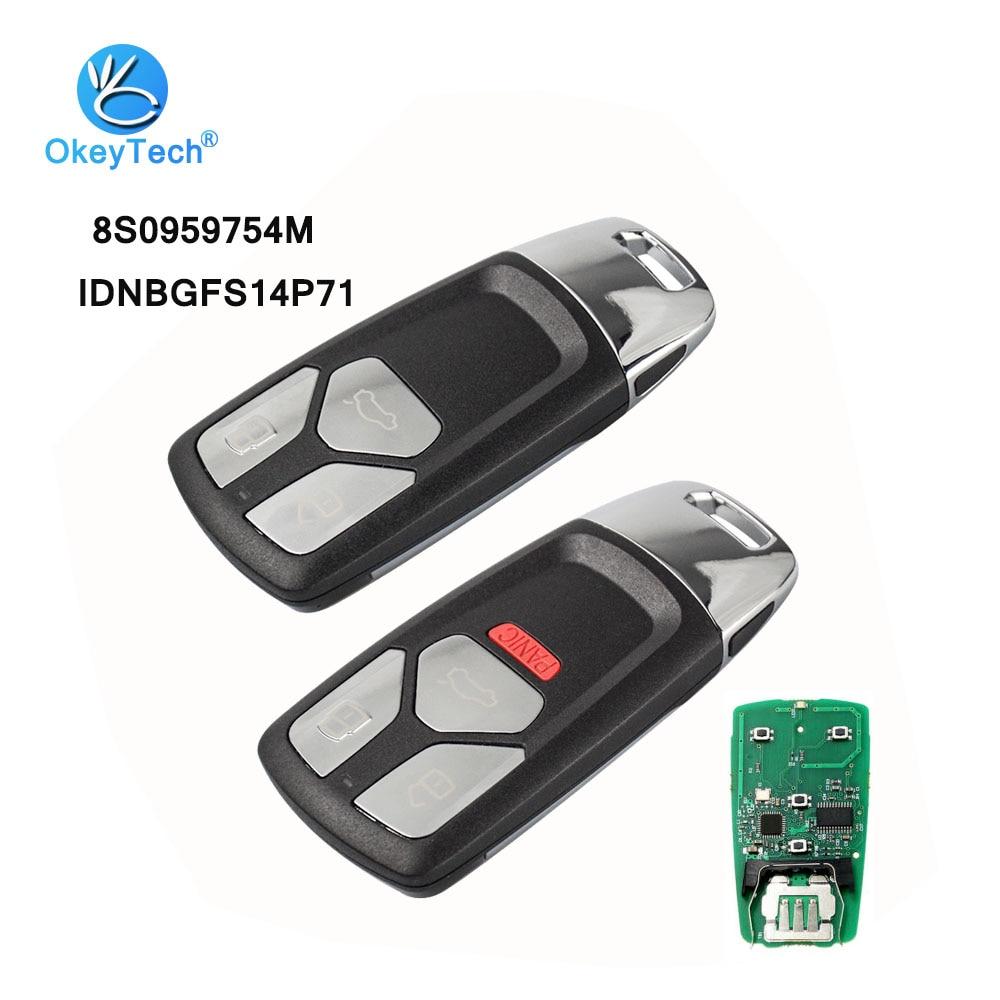 OkeyTech 3/4 bouton 315/433 mhz sans clé entrée voiture clé à distance carte à puce pour Audi A4 A5 Q7 TT 2016 2017-Up avec lame HU66 non coupée