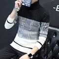 Hombres Jersey de Cuello Otoño e Invierno Engrosadas Corea Moda Jerseys Patrón Gráfico de Torsión Suéter de Punto Envío Gratis