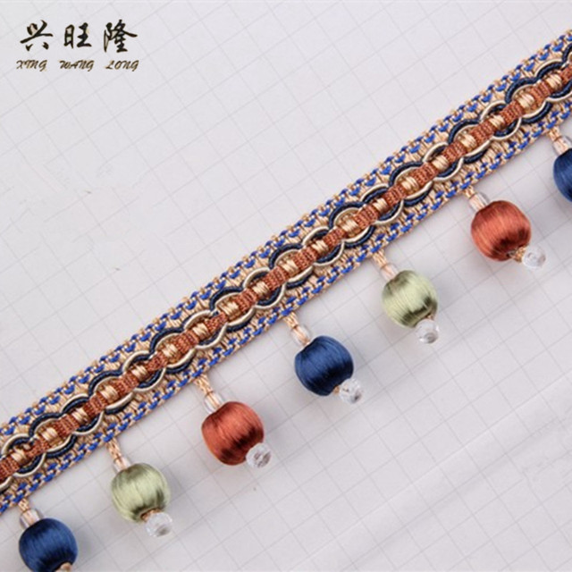 Xwl 14m Lot Wood Beads Curtain Lace Trim Diy Sewing Sofa Stage Decorative Ribbon Tel Fringe Accessories
