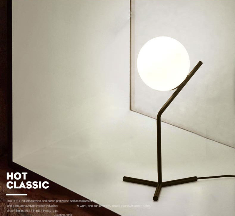 Modern Simple Glass Ball Table Lamp For Living Room Northern Europe Minimalism Desk Light with Black Stand fumat stained glass table lamp high quality goddess lamp art collect creative home docor table lamp living room light fixtures