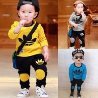 2015 New Spring Autumn Baby Girl Clothing Set Children Bow Cute Sets 2PCS Kids Flower Dress