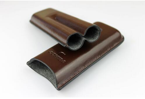 Hot Sale  Cigar Case / Humidor Brown Leather 2 Tube Humidor, Cigar Case