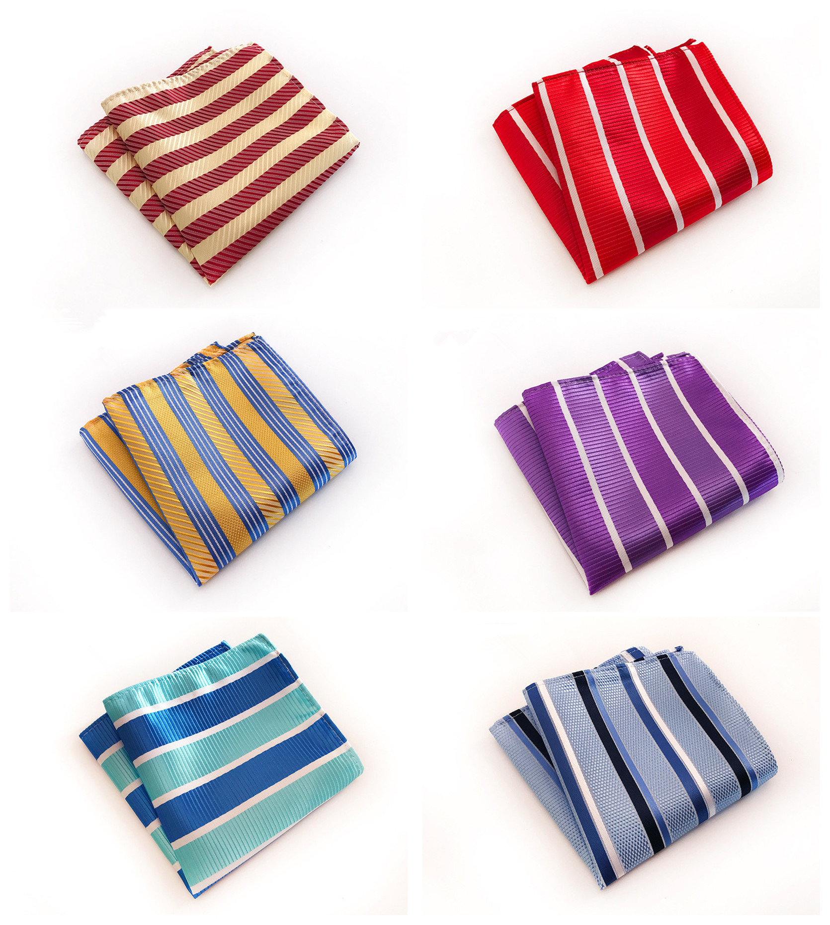 Fashion Design Men's Business Dress Pocket Towel Quality Explosion Models 25x25cm Multicolor Striped Polyester Pocket Towel