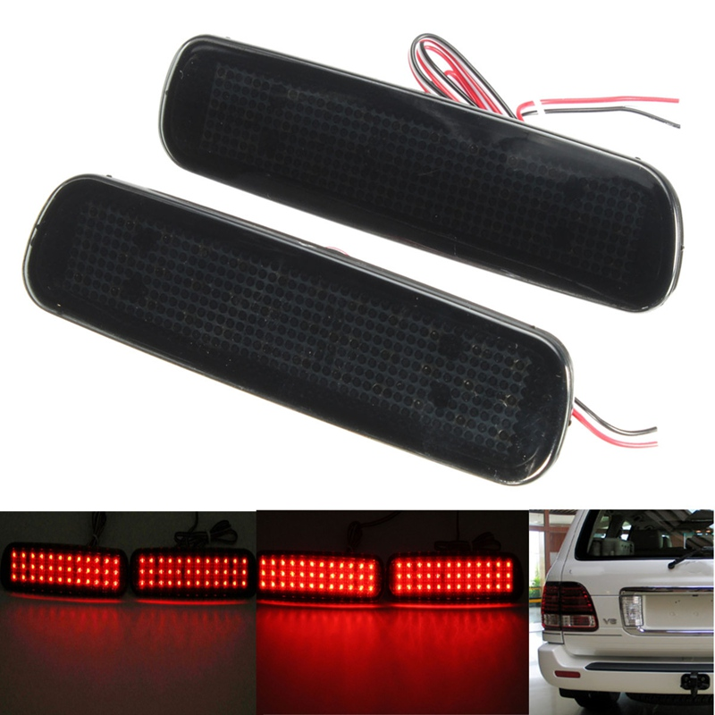 2Pcs Car Fog Red Lens Rear Bumper Reflector Tail Brake SMD LED Light Fog For Lexus LX470 Night Driving Run Brake Stop Lamp