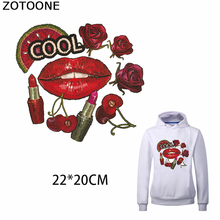 ZOTOONE Sexy Lip Iron on Transfer Patch Cool Patches Clothing T-shirt Bead Appliques Clothes DIY Accessory Decoration for Kid