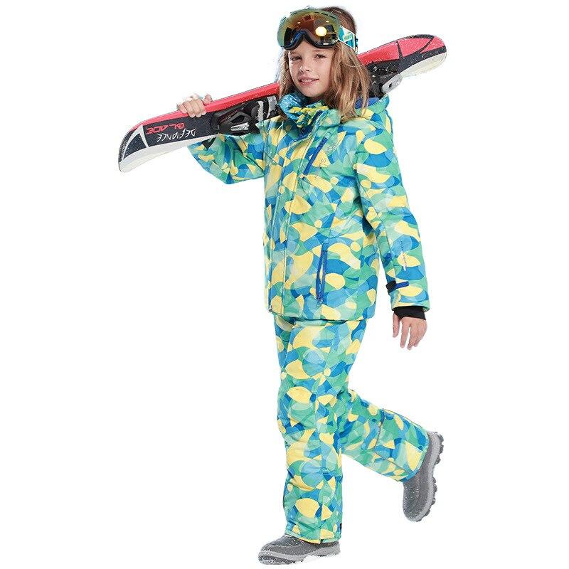 Marque D'hiver En Plein Air Enfants Vêtements Ensemble Coupe-Vent À Capuche Vestes de Ski + Pantalon Enfants de Neige Ensembles Chaud Ski Costume pour les Garçons filles