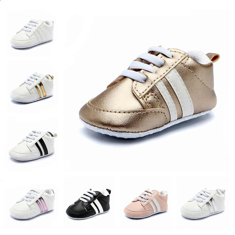 Baby First Walkers Soft Bottom Shoes Infant Girls PU Leather Sneakers Footwear Toddler Boys Breathable Non-slip Shoes NBB0111