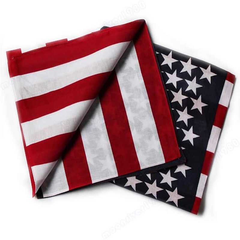 Cotton Scarf Bandanas Flag Dance American New-Fashion Travel Hip-Hop Unisex US 1pcs