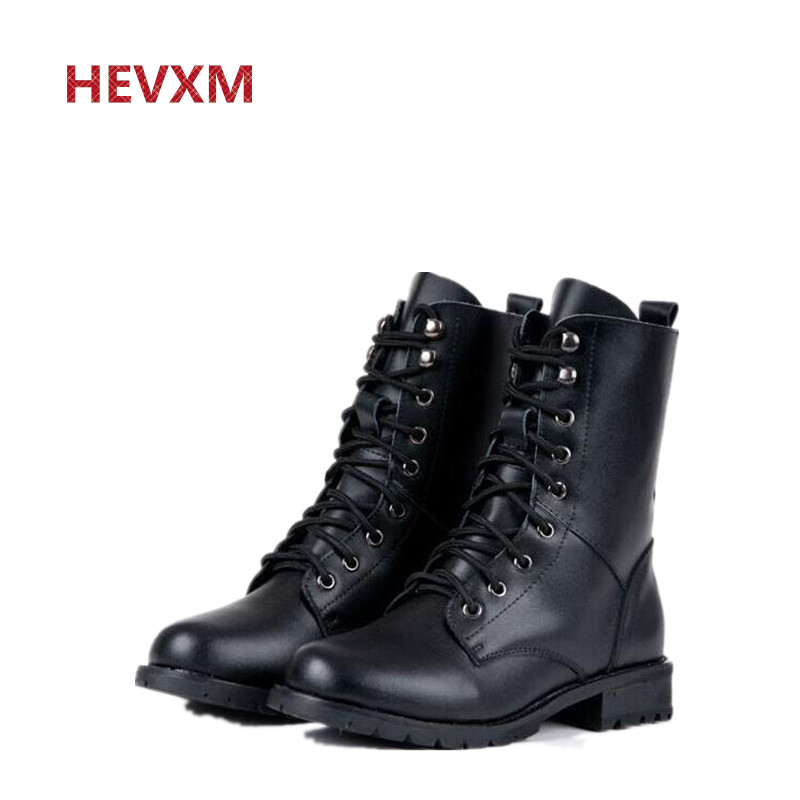 HEVXM Women Boots British Style Classic Women Motorcycle Martin Boots Punk Bandage Autumn Waterproof Shoes Black Shoes plus size fall trendboots in europe and america heavy bottomed martin boots british style high top shoes shoes boots sneakers