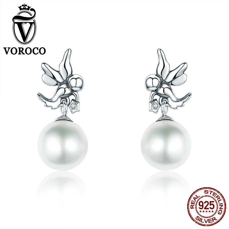 VOROCO Stud-Earrings Fine-Jewelry Pearl 925-Sterling-Silver Women Love Angel Clear CZ