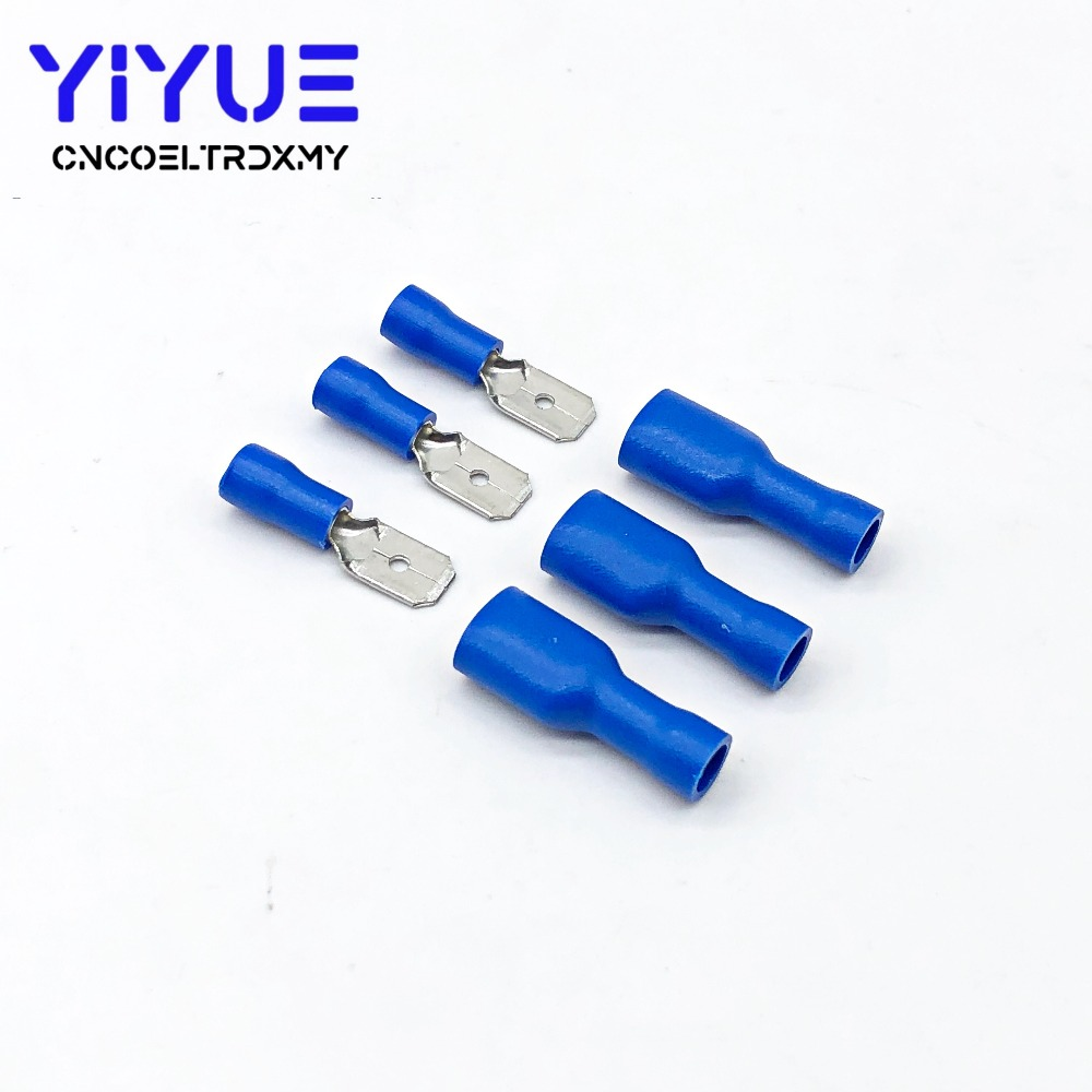 50x Blue Fem Spade Terminal Fully Insulated Connector Electrical Audio Wiring