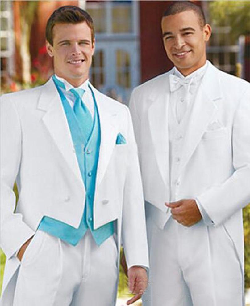 White Wedding Groom: 2019 Men Suits For Wedding White Color Tails Groom Dresses