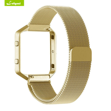Leegoal Wearable Device For Fitbit Blaze Frame+Stainless Steel bracelet For Smart Watch
