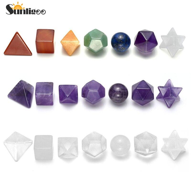 7 Sunligoo pc Natural Stone Cura Chakra Cristal Plantonic Sólidos Geometria Conjunto Chakra Energia Decoração 7/Ametista/Clear quartzo