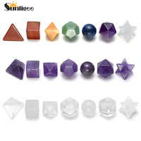 Sunligoo 7pcs Natural Stone Healing Chakra Crystal Plantonic Solids Geometry Energy Stones Decor 7 Chakra/Amethyst/Clear Quartz