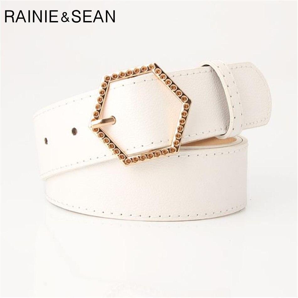 RAINIE SEAN Ladies Belt White Leather Buckle Women Pu Fashion Female Diamond Waist Ceinture