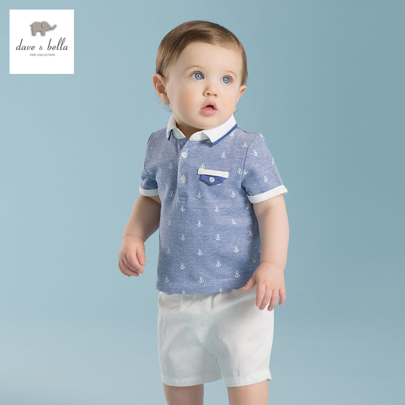 DB2148 dave bella summer printed short-sleeved baby clothing sets for boy  printed sets infant set toddle clothes anchor print 2pcs set baby clothes set boy