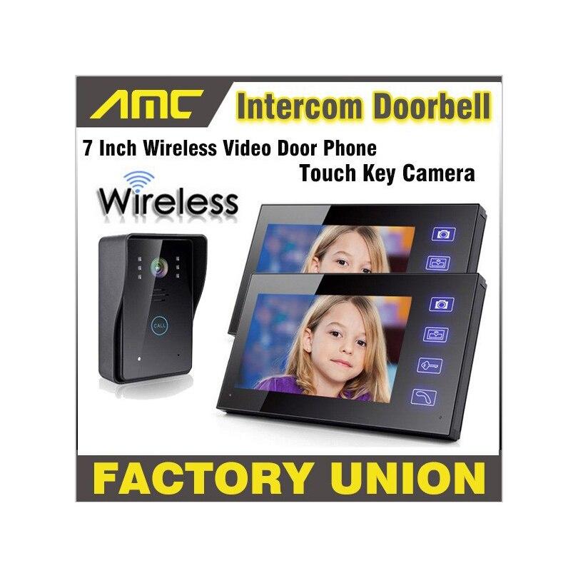 Sedmimístný bezdrátový videotelefon s dveřním zvonkem s dotykovým tlačítkem pro noční vidění Proti dešťové kameře domácí videotelefonní systém 2-Monitor