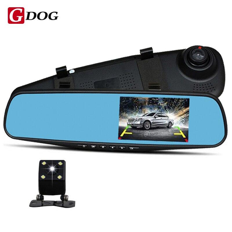 """imágenes para Full HD 1080 P 4.3 """"HD Pantalla de LED Del Coche DVR Cámara de Doble Lente de Espejo Espejo de La Cámara Con Cámara de Visión Trasera Aparcamiento Monitor de envío gratis"""