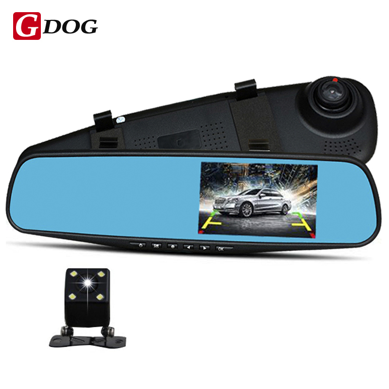 Full hd 1080p 4 3 hd led screen car dvr camera mirror dual lens camera mirror with rearview - Mirror screen ...