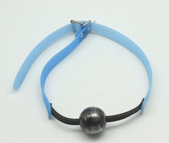 New Arrival Blue Rubber Ball Gag Silicone Mouth Plug Open Mouth Harness Ball Gag