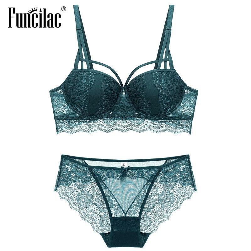 FUNCILAC Women Sexy   Bra     Set   Transparent Lace Ladies Underwear Push Up   Bra   &   Brief     Sets   Black White Wine red Dark green Lingerie