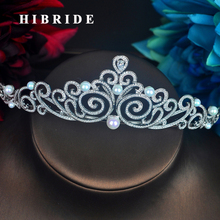 HIBRIDE Fashion Design Round Pearl Tiara Royal Bridal Wedding Hair Accessories Diadem Jewelry Crown Wedding Party Gifts C-99