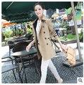 Nova moda outono cor sólida de manga longa de algodão trespassado Trench Coat lapelas