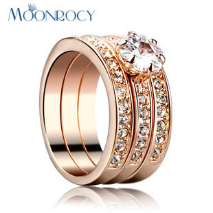 MOONROCY Free Shipping Rose Gold Color Fashion Crystal Cubic Zirconia Rings Three in One Jewelry Wedding Ring for Women Gift