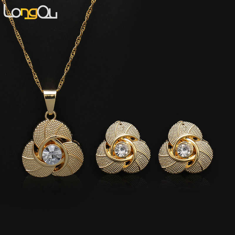 Gold-color Flower Crystal Shape Pendant Necklace Earring Sets Multi Ropes Choker Necklace Classic Wedding Costume Jewelry Set