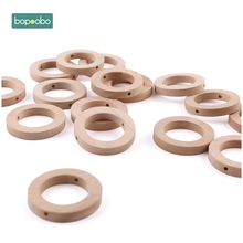 Bopoobo 50Pc 30mm Wood Ring Teether Baby Wooden Teether Paci