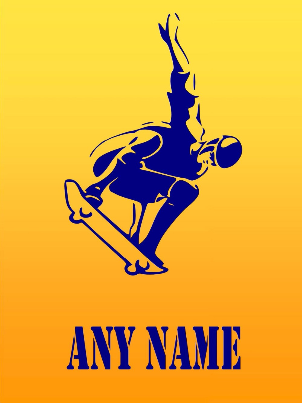 Personalised Boys Riding A Skater Vinyl Wall Sticker Any Name Kids ...