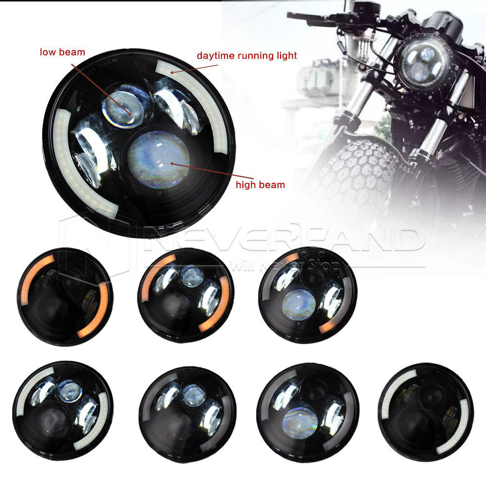Neverland 7 Motor Projector Daymaker LED Angel Halo Eye Motorcycle Headlight Bulb For Harley D35 7 motorcycle daymaker rgb led headlight