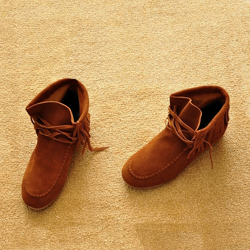 Spring Fashion Brand New Cow Suede Genuine Leather Women's ankle Boots Fringe Lace-up motorcycle flat Students Shoes Plus size front lace up casual ankle boots autumn vintage brown new booties flat genuine leather suede shoes round toe fall female fashion