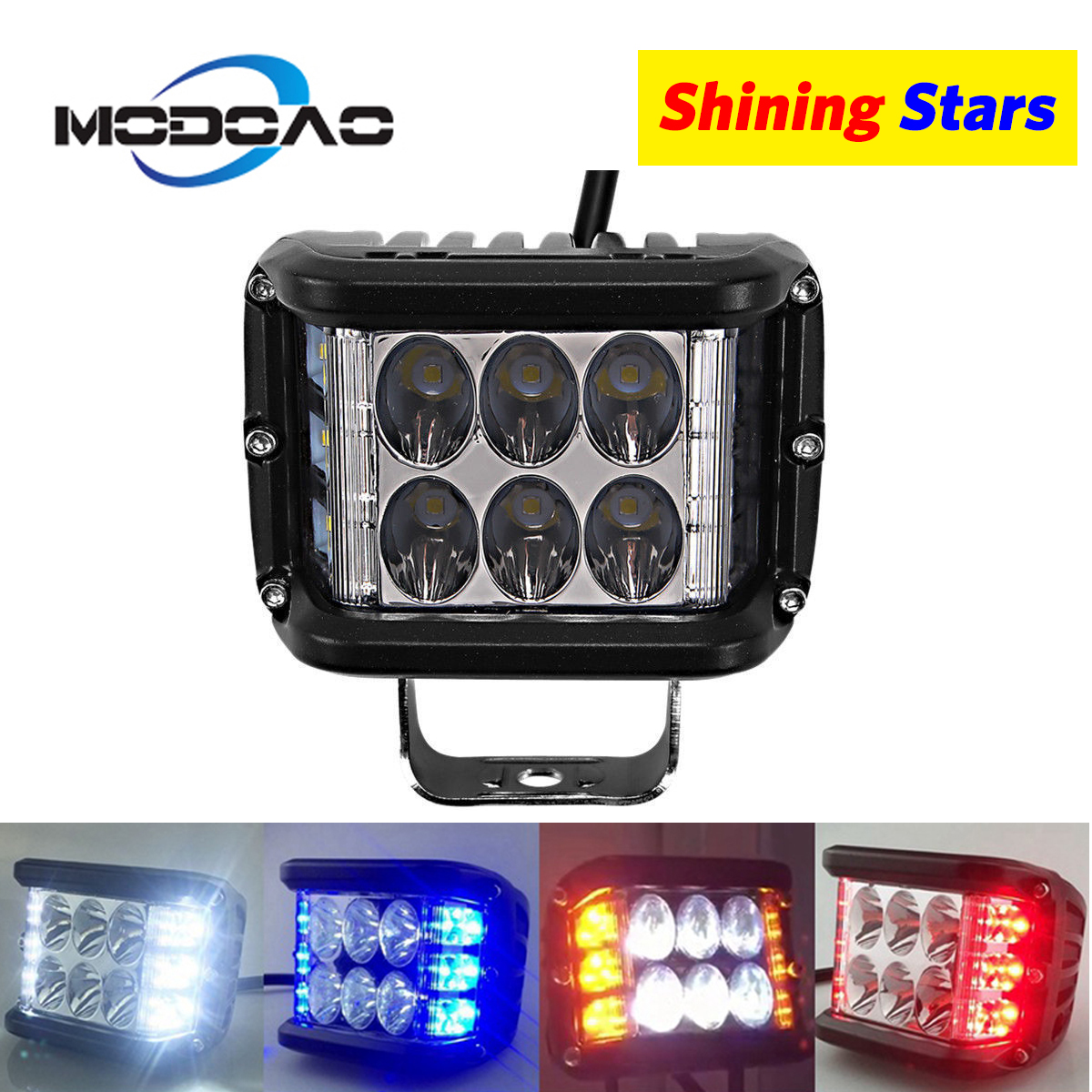 3600lm 45W 3 face car work light can be used for off-road vehicle engineering car ATV white red blue yellow Flash Warning