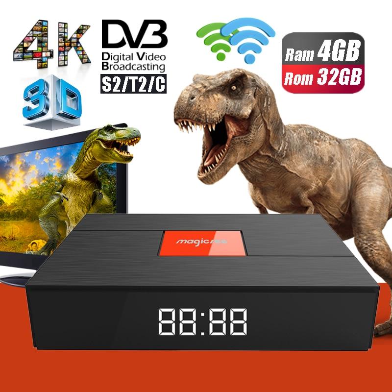 Magicsee C400 Plus Hybrid 3G 32GB Smart TV Set Top Box DVB-S2 DVB-T2 4K HD Digital Satellite TV Receiver Dual WiFi Media Player brand new mini streambox m3c dvb c cable main chip hi3716mv330 linux system hd channels set top box for singpore media player