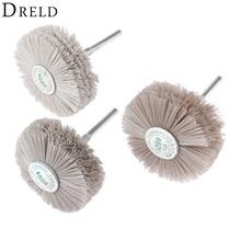 цена на DRELD 3Pcs Dremel Accessories Nylon Wheel Brush Wood Metal Polishing Buffing Grinding Wheel 320# 400# 600# for Drill Rotary Tool