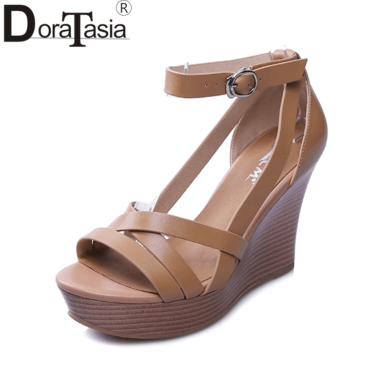 DoraTasia New Brand Cow Genuine Leather Wedges High Heel Woman Shoes Rome Buckle Women Shoes Summer Sandals doratasia plus size 36 43 cow genuine leather woman shoes pointed toe wedges high heel women shoes summer pumps