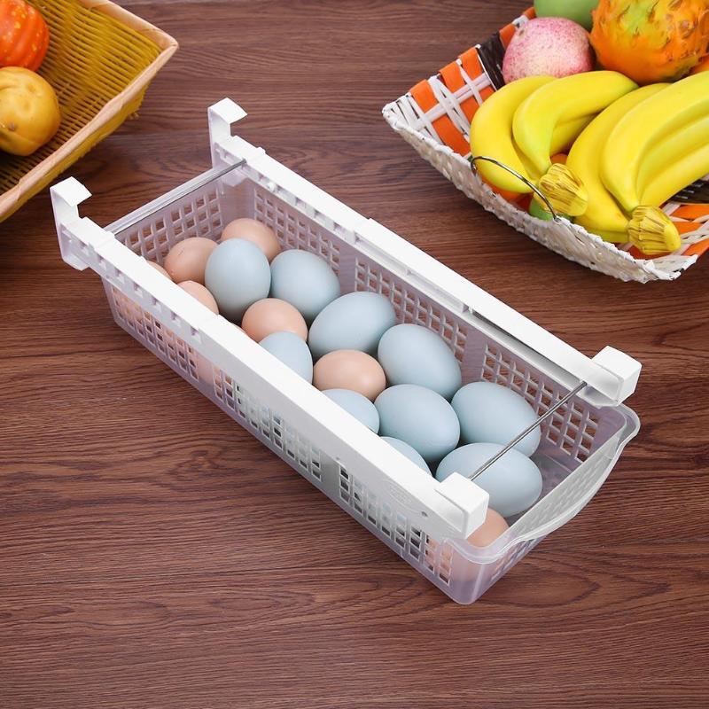 2018 New Fridge Mate Refrigerator Pull Out Bin Home Organizer Drawer Space Saving Organizer Egg Storage Box