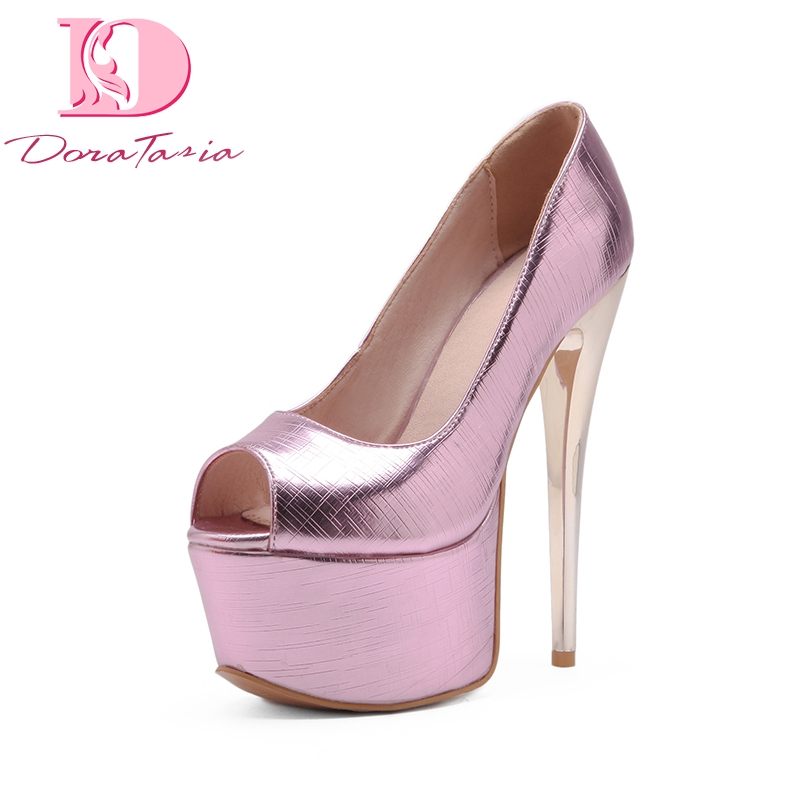 DoraTasia 2018 Large Size 33-48 Peep Toe Thin High Heels Pumps Shoes Woman Platform Slip On Party Wedding Pumps lasyarrow brand shoes women pumps 16cm high heels peep toe platform shoes large size 30 48 ladies gladiator party shoes rm317