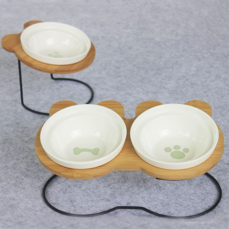 New High-end Pet Bowl Bamboo Shelf Ceramic Feeding and Drinking Bowls for Dogs and Cats Pet Feeder AccessoriesNew High-end Pet Bowl Bamboo Shelf Ceramic Feeding and Drinking Bowls for Dogs and Cats Pet Feeder Accessories