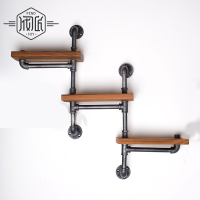 American Pipe Racks, Wrought Iron Wall Pipe Retro Backdrop Wood Industry Water Separator Wall Shelves Z15