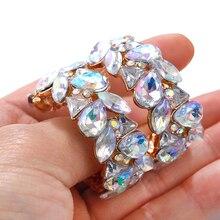 AENSOA Boho ZA Fashion Crystal Hoop Earrings For Women Multicolored Shiny Glass Earrings Wedding Party Gifts Gold Color Jewelry