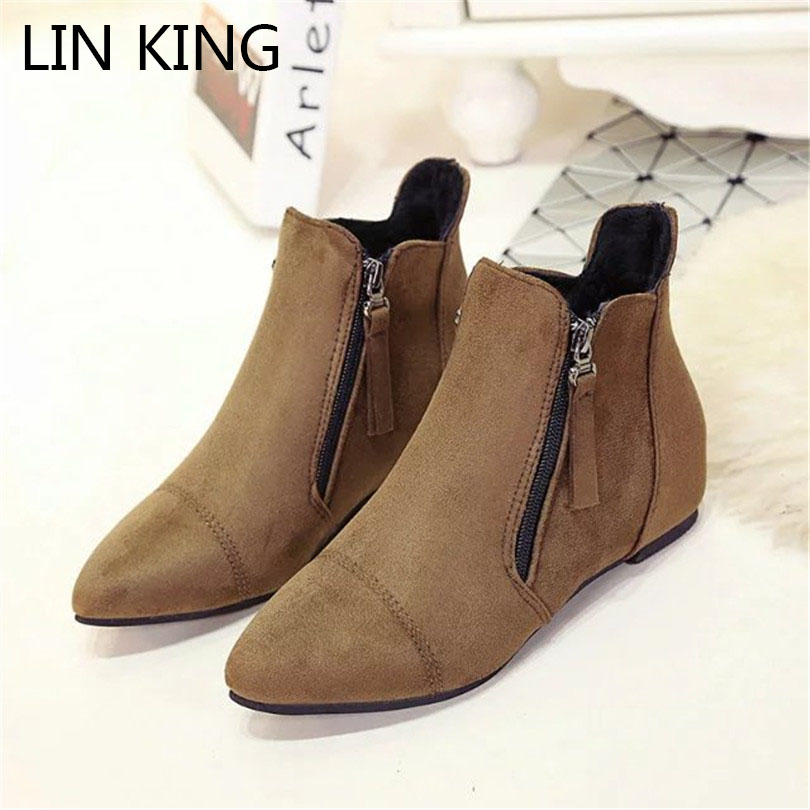 LIN KING Casual Women Shoes Black Flock Flats Shoes Sexy Pointed Toe Height Increase Office Lady Ankle Boots Zip Martin Boots lin king fashion pearl pointed toe women flats shoes new arrive flock casual ladies shoes comfortable shallow mouth single shoes
