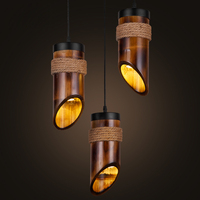 American country retro lamps bar 1/3 head hemp rope bamboo chandelier nostalgic personality cafe restaurant lighting ZP422113