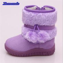 New Fashion Children Snow Boots Warm Flock Bottine Thick Plush Kids Rubber Boots Suede Fur Girls Snow Boots Baby Winter Shoes