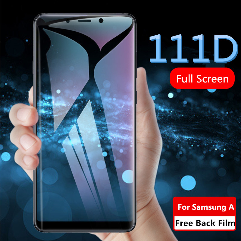 Full Screen Protector Glass On Samsung A6 A7 A8 A9 2018 Tempered Glass For Samsung Galaxy A30 A50 A70 A8 Plus Protective Glass