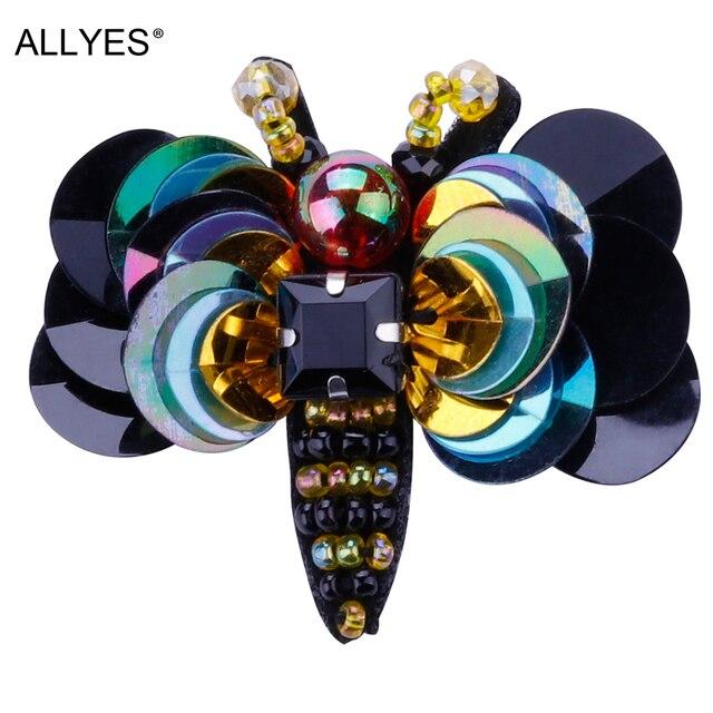 Allyes Красивая Пчелка Броши для Для женщин ювелирные изделия Красочные акриловые Блёстки Кристалл Бусины большой костюм нагрудные насекомых Булавки брошь